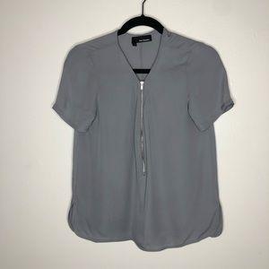 The Kooples Silk Short Sleeve Zip Front Grey Top
